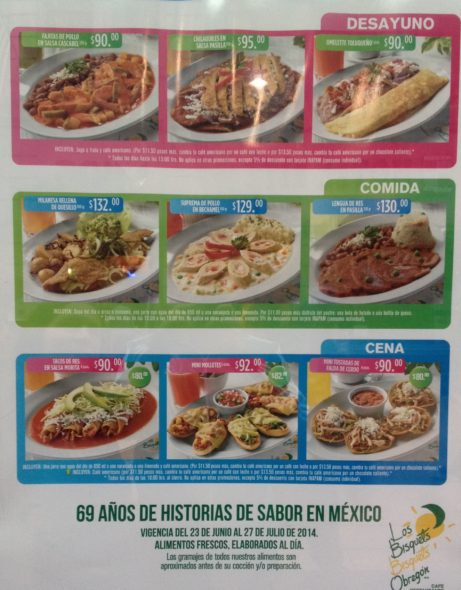 Un menú de un restaurante en México
