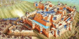 Gravura explicativa do cerco do Sultão Baybars à Krak des Chevaliers, em 1271 (Fonte: http://www.stephenbiesty.co.uk/ - Autor: Stephen Biesty)