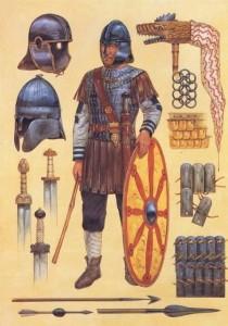 Soldado Romano do período final do império, com seu equipamento extremamente modificado pelas influências germânicas (Fonte: Late Roman Legions & military: https://goo.gl/1CDHaj / Autor: Desconhecido)