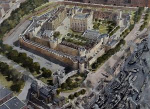 Desenho mostrando a Torre de Londres como atualmente está, desde 1890, ainda um símbolo rela do Reino Unido (Fonte: royalarmories.org / Autor: Ivan Latter)