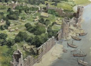 Gravura mostrando a parte sudoesta da cidade e muralha de Lundene, mostrando o quão abandonada a cidade estava (Fonte: royalarmories.org / Autor: Ivan Lapper)