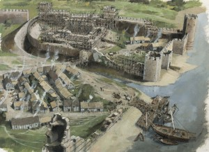 Início da construção do novo castelo normando na cidade de Londres, em 1080 - observe na parte de cima da imagem o futuro foço e fundações da futuramente chamada Torre de Londres (Fonte: royalarmories.org / Autor Ivan Latter)