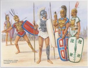 Gravura mostrando como possivelmente eram os guerreiros samnitas, que foram frequentes inimigos de Roma (Fonte: Table of Contents - http://goo.gl/DdQqow / Autor: Desconhecido)