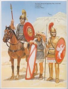 Soldados romanos durante as guerras no norte da áfrica pelo controle da Numídia (110 - 105 AEC), guerra esta em que Caio Mário se destacou como grande comandante - (Fonte: Table of Contents - http://goo.gl/DdQqow / Autor: Angus McBride)