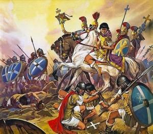 Imperador Constantino e seus soldados em batalha, repare nas armaduras em escamas e escudos redondos dos soldados romanos, assim como os símbolos cristãos nos escudos (Fonte: Late Roman Legions & military: https://goo.gl/1CDHaj / Autor: Angus McBride)