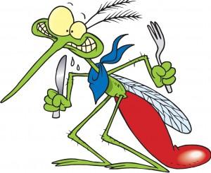 Mosquito faminto. Sorte que não usam garfo e faca de verdade! (Fonte: http://fiquemsintonia.blogspot.com.br/)