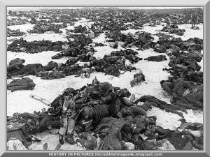 """""""Imagine Stalingrado, com oitenta dias e oitenta noites de luta corpo a corpo. As ruas não eram mais medidas em metros, mas em cadáveres. Stalingrado não eram mais uma cidade. De dia, era uma enorme nuvem de fumaça escura e em combustão. Era uma fornalha acesa pelo reflexo das chamas"""" (Veterano alemão)"""
