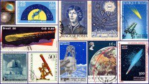 Astronomia em Selos. Planetários, Telescópios, Nicolau Copernico, Cometas.