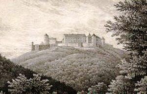 Pequena gravura mostrando o castelo em 1815, antes da visita do príncipe prussiano (Fonte: Wikicommons / Autor: desconhecido)