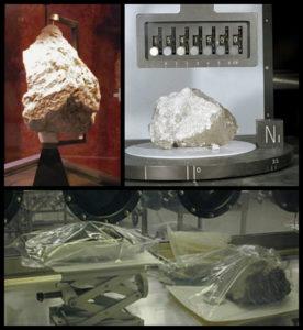 Diversas rochas lunares trazidas pelas missões Apollo. A da direita e acima é chamada de Rocha Gênesis e foi trazida pela Apollo 15.