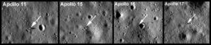 Alguns locais de pousa das Apollo fotogradas por sondas espaciais orbitais.