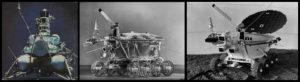 Da esquerda para a direita: Lunik 15, Lunokhod 1 e Lunokhod 2.