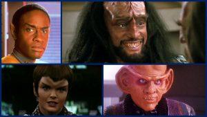 No alto a direita o vulcano Tuvok (Voyager), alto e esquerda um Klingon, abaixo e a direita Commander romulana Donatra (Nemesis) e Quark, o negociante ferengi de DS9.