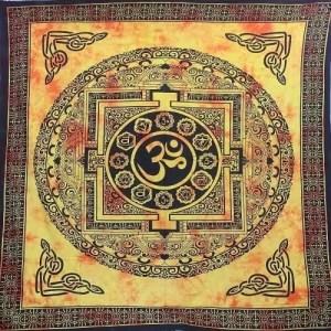 OM mintás falidísz Indiából narancsos színben