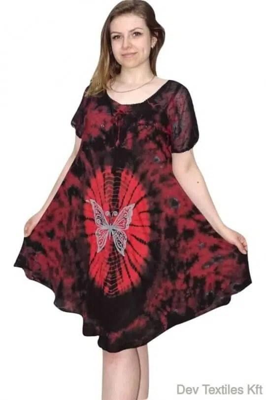 Rövid ruha-Pillangós mintájú ruha piros