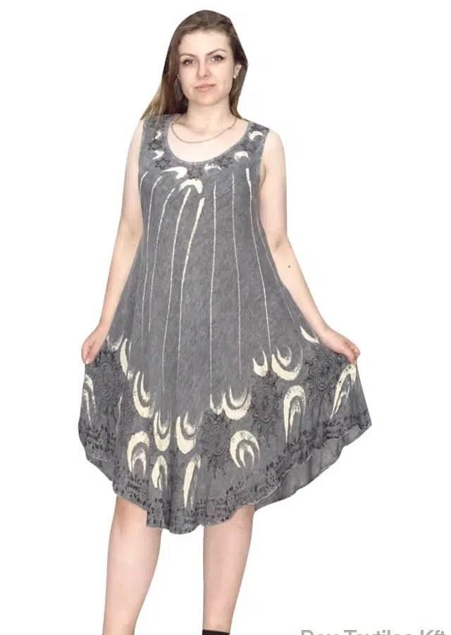 Rövid nyári ruha indiából virag mintával szűrké