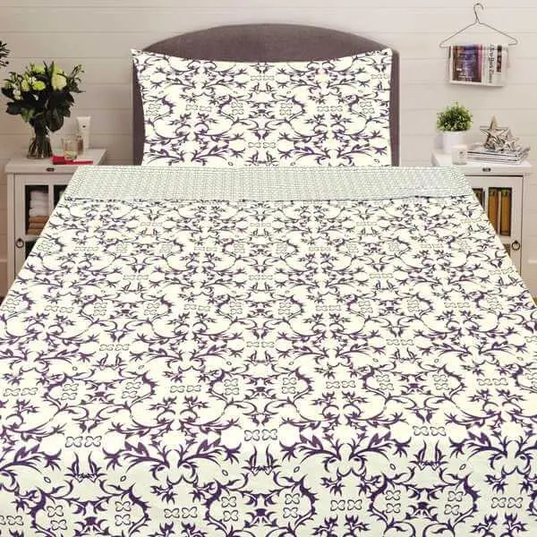 Pamut ágynemű krém színben levendula színű