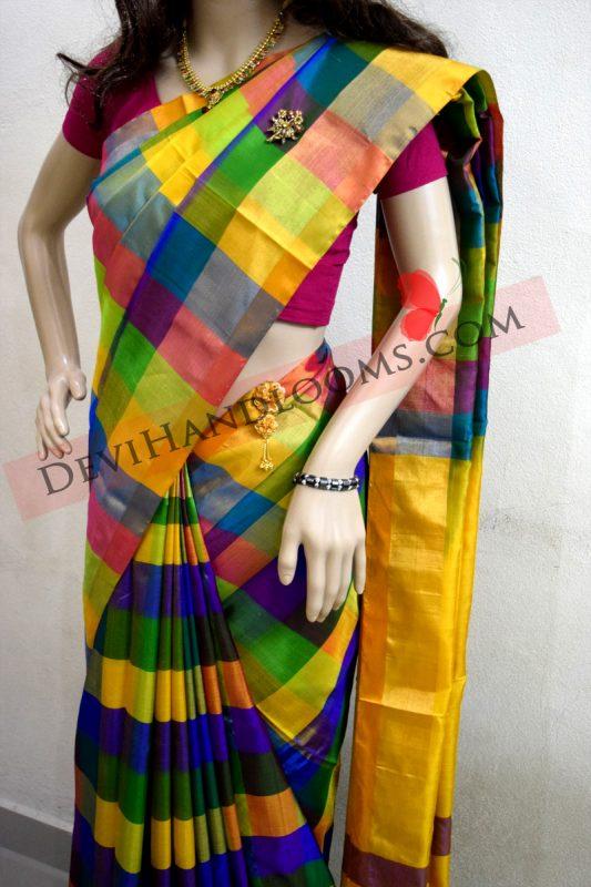 Uppada Multi Color Big Checks Silk Saree Devi Handlooms