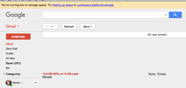 Gmail showing 99% used of 15GB