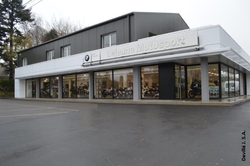 Nouvelle construction Lejeune Motosport  Bastogne  Architecte Luc De Potter Marche  Deville sa