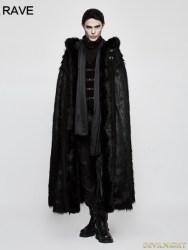 witch gothic fur cloak long punk rave devilnight clothing male clothes mens darkincloset