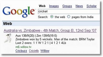 Google Search Feature - Live Cricket Scores are just One-Click Away!