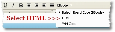 Text Formating Toolbar - Select HTML - Devils Workshop