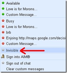 Gmail Chat Invisible Mode