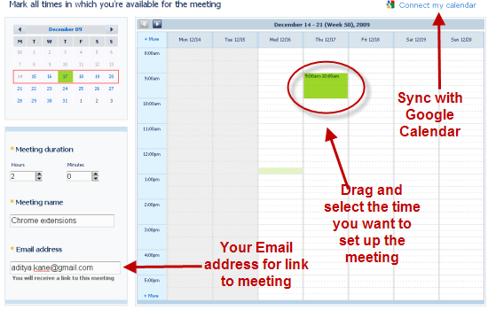 Gmail meeting scheduler with chrome extensions