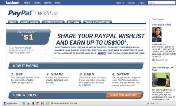 Paypal wishlist earn $100