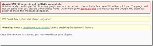 network-multiple-site-wordpress-warning