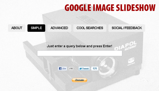 Search and View Google Images in a Slideshow