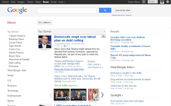 New and updated Google news U.S edition interface