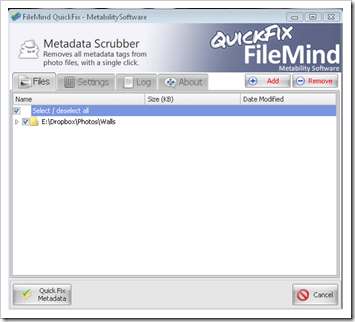 Remove EXIF data with Quickfix
