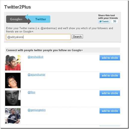 Twitter2GooglePlus