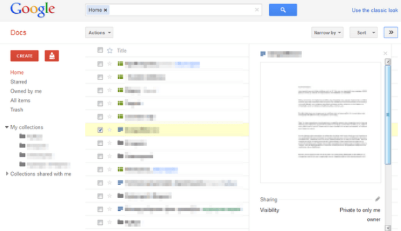 Google Docs new interface