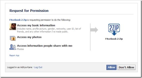 Download your Facebook Albums in ZIP file