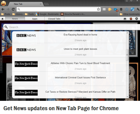 News Feeds on Chrome Startpage