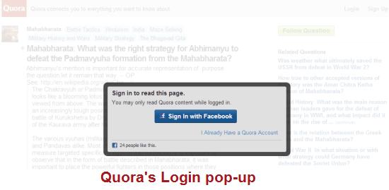 Quora's Login Popup