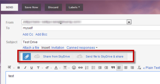 Adding SkyDrive Files to Gmail