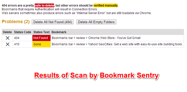 Automatically Scan Chrome Bookmarks For Bad Links