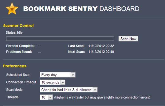Bookmark Scan Settings