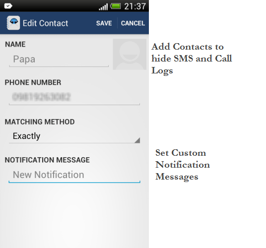 Android app to hide SMS and call log details of specific contacts