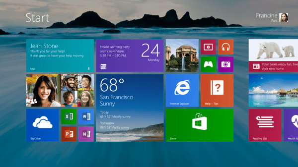 Start screen with Wallpaper in Windows 8.1