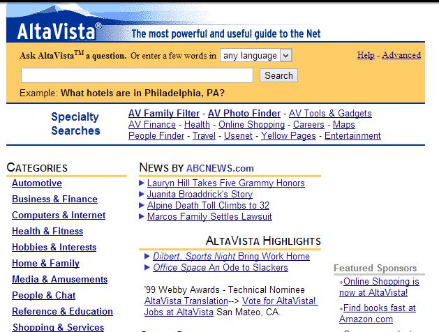 AltaVista the oldest search engine is no more!