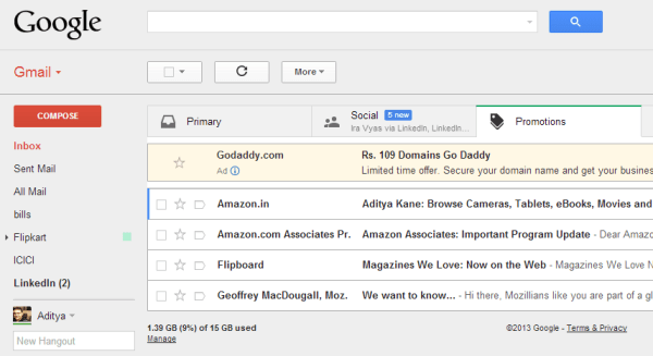 Ads in my Gmail Inbox