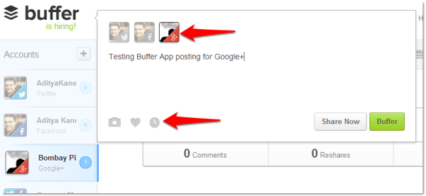 Bufferapp for Google Plus Pages