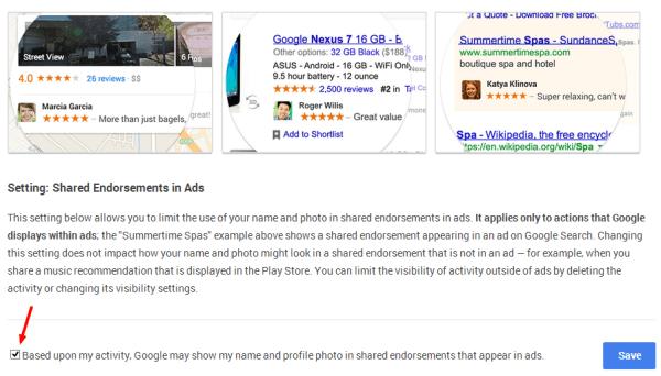 Google Ads Shared Endorsements Settings