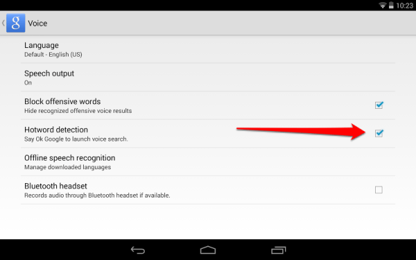 Google Now Voice Settings