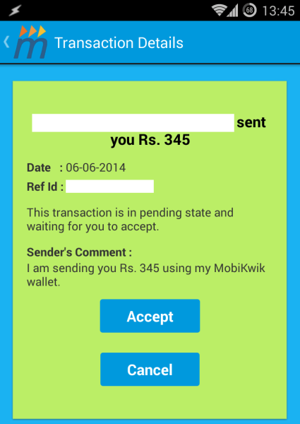 Invoice of successfully completed MobiKwik transfer transaction